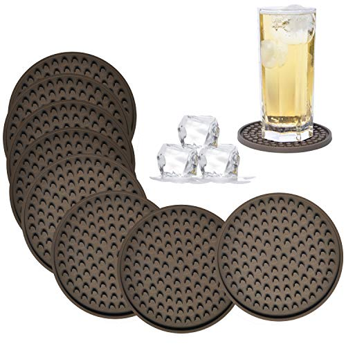 - Coasters for Drinks Absorbent, Rubber Brown Coasters Set of 8, Silicone Drink Coasters Large Size 4.3 inch and Deep Tray, Reusable Heart Shape Silicone Trivet by Kindga