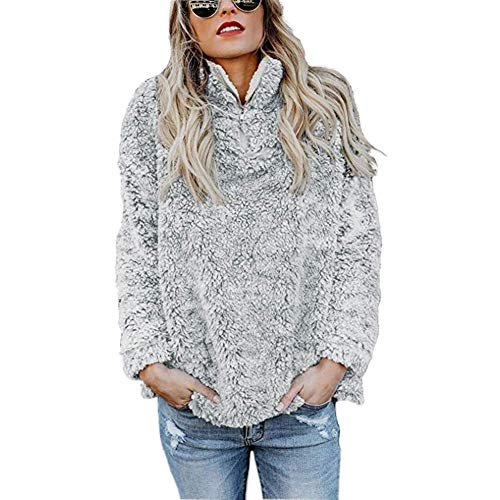 Women's Coat Casual Lapel Fleece Fuzzy Faux Shearling Zipper Coats Warm Winter Oversized Outwear Jackets (Small, Light Grey Pullover) (Sleeve Fur Boot Faux)