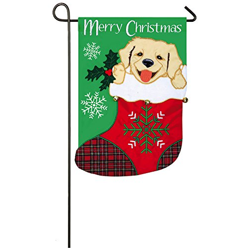Evergreen Puppy in Stocking Outdoor Safe Double-Sided Applique Garden Flag, 12.5 x 18 inches