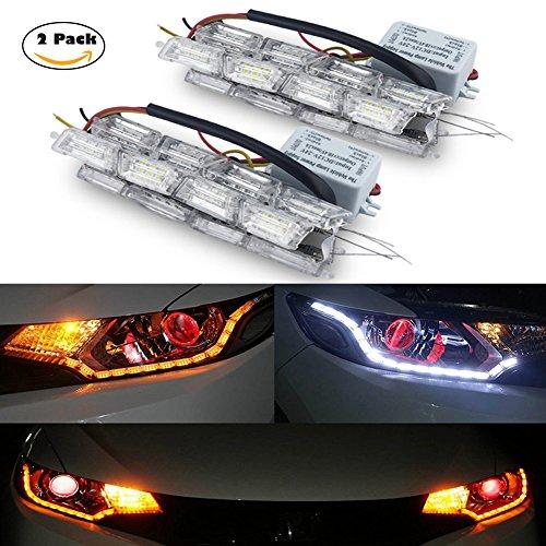 KUMEED LED Daytime Running Light Flowing Turn Signal Light Car LED Strip Lights Headlight White/Amber DRL Strips Pack of 2 (Car Turn Signals)
