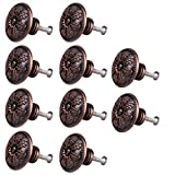 10pcs Classical Round Decorative Cabinet Door Drawer Pull Handle Knob Red Bronze