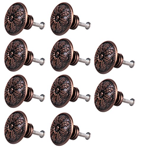 10pcs Classical Round Decorative Cabinet Door Drawer Pull Handle Knob Red Bronze by Generic
