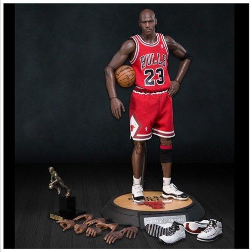 Enterbay Masterpiece x NBA Michael Jordan #23 Away Red Jersey 1:6 Figure with Air Jordan II, X, XI shoes [Series 1 Road Edition]