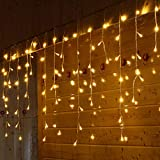 TAOtTAO LED Window Curtain Icicle String Fairy Lights Wedding Party Christmas Decor Light String (Yellow 1.5M(W) x 0.5M(H) 48LED)