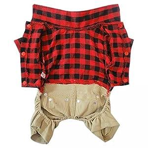 Dogloveit Cotton Plaid Shirt Style Overalls Jumpsuit Soft Autumn Dog Clothes For Cat Puppy Pet, Red, Large