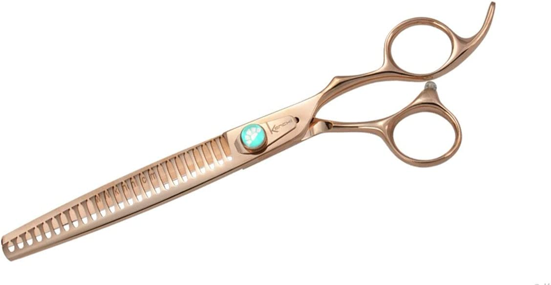 Kenchii Rose Gold Deluxe Grooming Shears Great Grooming Shears for All Breeds (25 Tooth Blender)