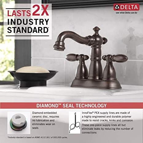 Delta Faucet Victorian 2-Handle Centerset Bathroom Faucet with Diamond Seal Technology and Metal Drain Assembly Stainless 2555-SSMPU-DST