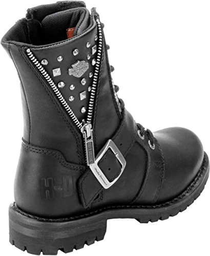 Boot Mindy Womens Mid Black Davidson Harley Leather Cut Z0qpZAfw