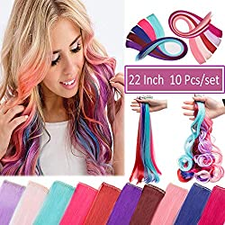 """Multi-Color Clip in Streak Hair Extensions Rainbow Highlight Clip on Single Hairpiece for Party 22"""" 10 Pcs Light Pink-Straight"""