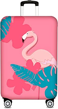 Elastic Travel Luggage Cover Tropical Pink Flamingo Suitcase Protector for 18-20 Inch Luggage