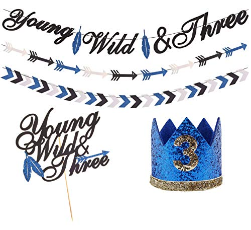 Young Wild & Three Birthday Decorations blue, Third 3rd Birthday Party Supplies, young wild and three Banner Sign and Young Wild & Three Cake Topper and 3 Birthday Hat for Wild Three Boho Tribal Themed 3rd Birthday Party Supplies for Baby Boy (3 Yr Old Boy Birthday Party Themes)