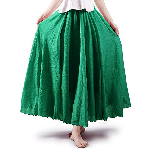 OCHENTA Women's Bohemian Elastic Waist Cotton Floor Length