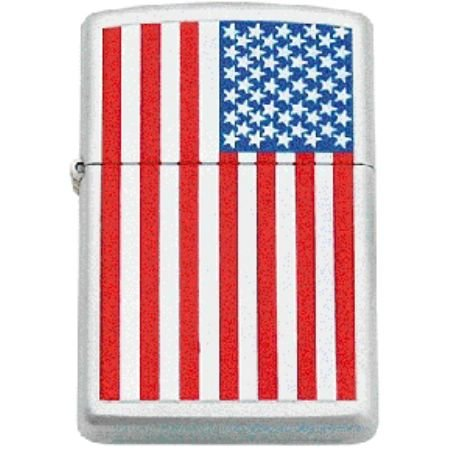 - Zippo Lighters FLAG American Logo Zippo Lighter with Brushed Chrome Finish