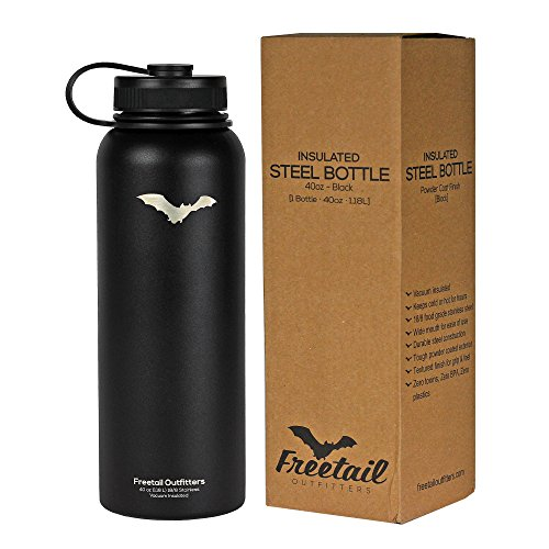 Freetail Outfitters Stainless Steel Insulated Water Bottle - 40oz (Black)