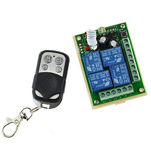 DC 12V Gate Garage 4 Channel Wireless Remote Control Receiver Momentary Switch by Home Improvement