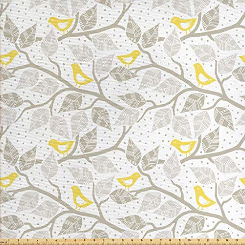 Fabric Decor Home (Lunarable Grey Fabric by The Yard, Birds on The Branch with Pastel Colored Leaves on Dotted Background Nature Art, Decorative Fabric for Upholstery and Home Accents, 1 Yard, Yellow Tan White)