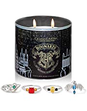 Charmed Aroma Harry Potter Hogwarts Candle, Hogwarts House Ring Collection