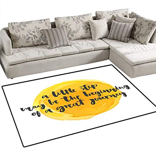 - Quote Door Mats for Inside Positive Saying with Watercolor Monochrome Background Brush Strokes Bath Mat for Bathroom Mat 4'x6' Earth Yellow Charcoal Grey
