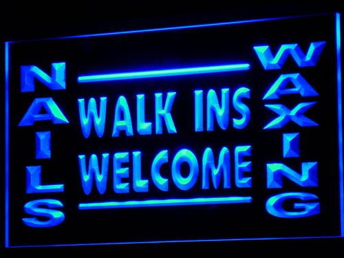 Nails Waxing Walk Ins Welcome LED Sign Neon Light Sign Display i632-b(c) (Sign Waxing Led)