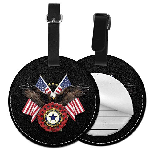 HMYATSO American Legion Auxiliary Deluxe Printing PU Leather Round Luggage Tags Travel Suitcase Name ID Labels