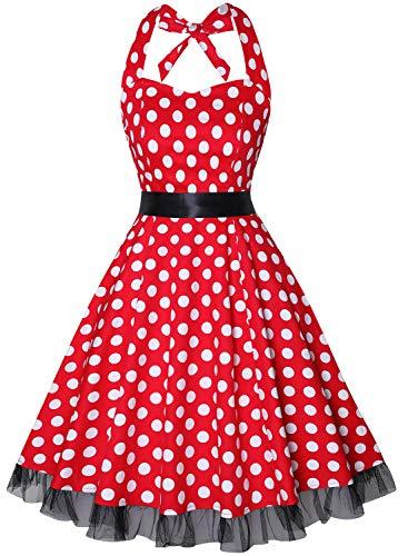 OTEN Women's Vintage Polka Dot Halter Dress 1950s Floral Sping Retro Rockabilly Cocktail Swing Tea Dresses]()