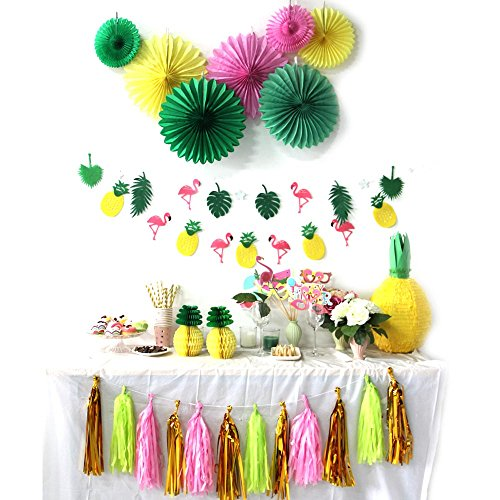 Summer Party Decoration Kit Paper Fans Tropical Party Flamingos and Pineapples Banners Tassel Garlands Hawaiian Luau Beach Supplies 31 Piece (Fan Party Kit)
