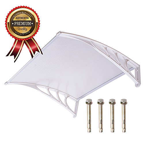 UV Protection Overhead Clear Outdoor Patio Awnings, Window Awnings - GC Global Direct (3FT, White)