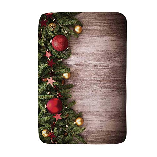 YOLIYANA Christmas Soft Door Mat,Xmas Ornaments Over Wooden Rustic Board Backdrop with Stars Goodwill Print for Living Room,17.7