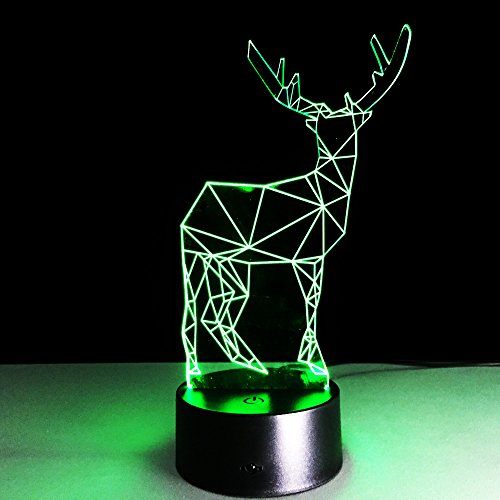 (DeemoShop Novelty Deer 3D Long Horned Lamp Christmas Decor Night Light Gadget LED Lighting Bedroom Office Home Cafe Lighting)