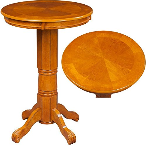 Oak Veneer Top Table (Oak Bar Table Round Wooden Brown Large Classic Carved Standing Dining Coffee Cocktail Bar Height Pub Table Accent Living Room Furniture eBook by Easy&FunDeals)