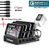COSOOS Fastest Charging Station with QC 3.0 Quick Charge,6 USB Chargers Cables(3 Types),lwatch Stand,6-Port Docking Station,USB Charging Station for Multiple Devices,Phones,Tablet,Kindle(UL Certified)