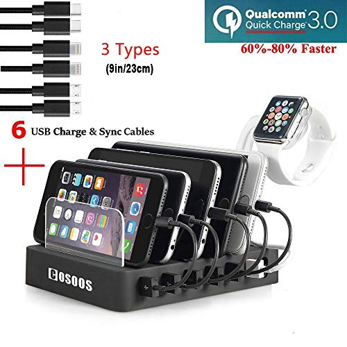 COSOOS Fastest Charging Station with QC 3.0 Quick Charge,6 USB Cables(3 Types),lwatch Holder,Universal 6-Port Charger Station Dock,Charging Docking Stand for Multiple Devices,Phones,Tablets(UL Safe)