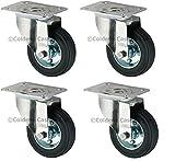 Pack of 4 Heavy Duty Swivel Rubber Castor Caster Wheels 100mm Industrial Trolley Wheel NEW,Coldene Castors