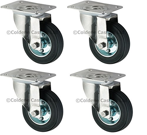 Pack of 4 Heavy Duty Swivel Rubber Castor Caster Wheels