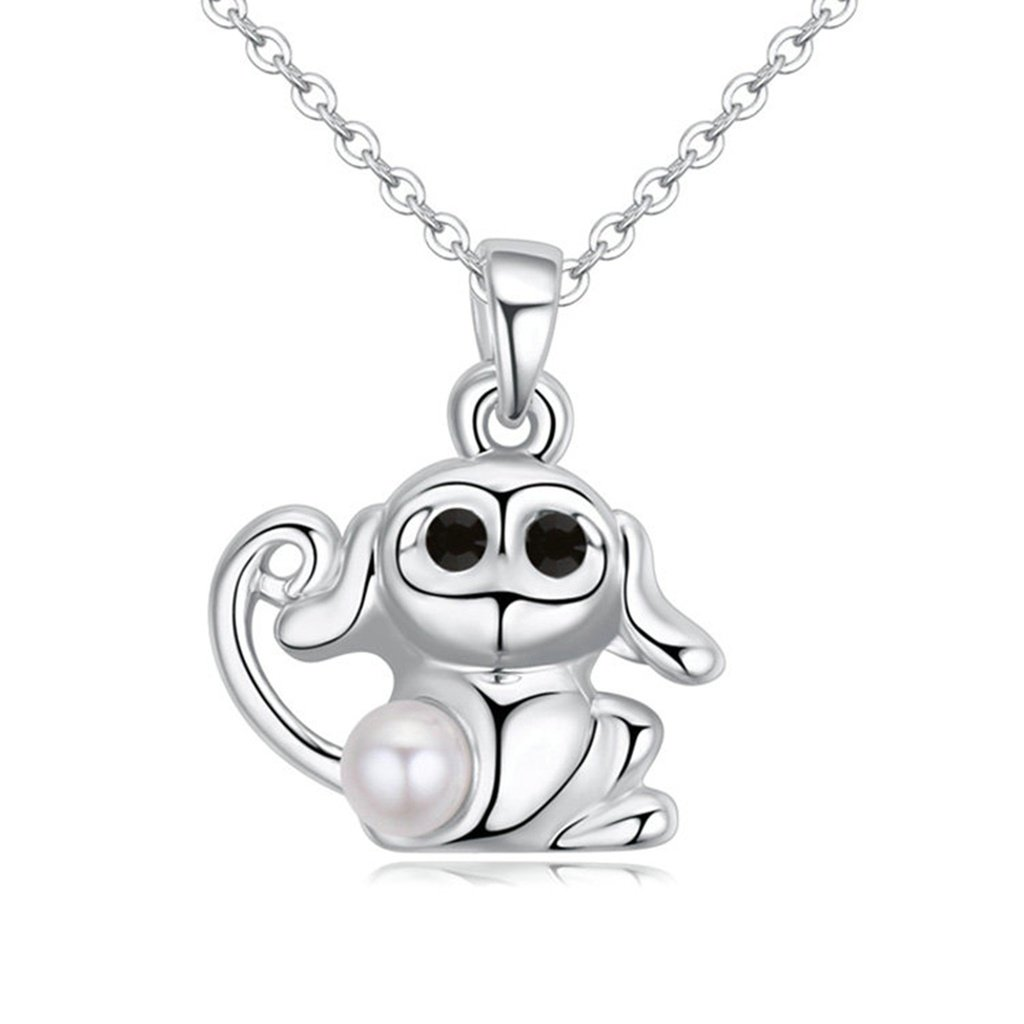 Epinki Women Girl Necklace Gold Plated Little Monkey Pearl Pendant Collar White Pendant