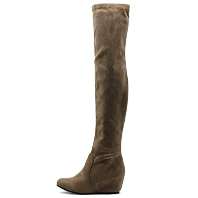 cbd865ba7fe Ollio Women s Shoe Stretch Faux Suede Thigh High Covered Wedge Heel Long  Boots TWB01023(6.5