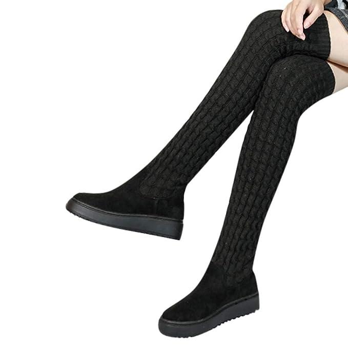 Amazon.com: Gyoume Ove Keen botas largas, botas planas de ...