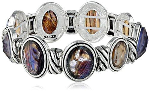 "Napier ""Simply Natural"" Silver-Tone Purple Stretch Bracelet"