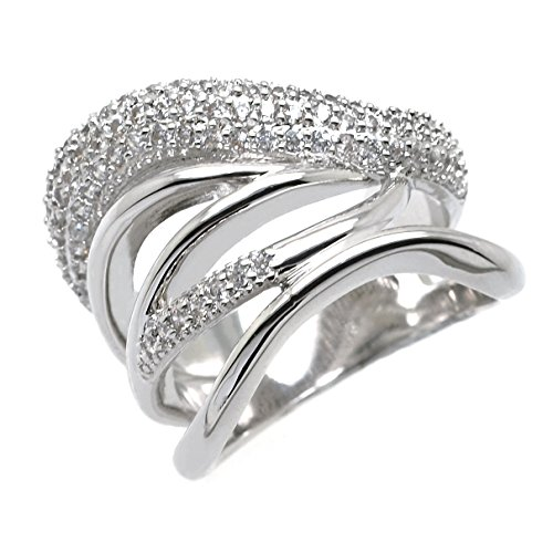 Sparkly Bride CZ Fashion Statement Ring Multi Rows Wide Band Rhodium Plated Women