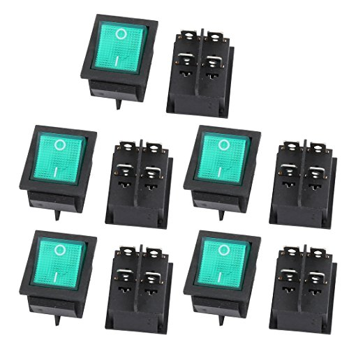 - uxcell 10Pcs 15A 250V 30A 125V DPST 4P 2 Position Green LED Light Boat Rocker Switch UL Listed