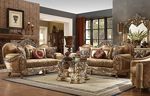 Inland Empire Furniture Pasquale Formal Wood Trim Sofa, Love Seat and Chair - Furniture Room Formal Living