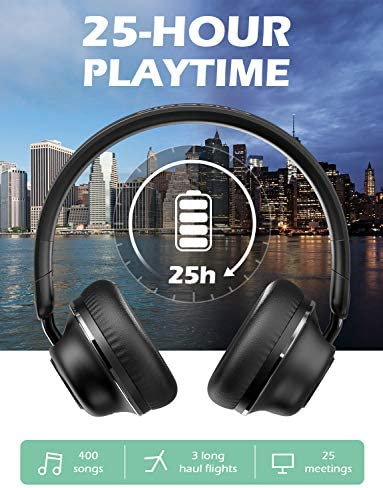 Active Noise Cancelling Headphones-SuperEQ S2 Bluetooth On Ear Headphones with CVC 8.0 Mic, Deep Bass, 25H Playtime, 40mm Drivers, Memory Foam Ear Cups for Travel Online Class Office (Black) 51ngPID49jL