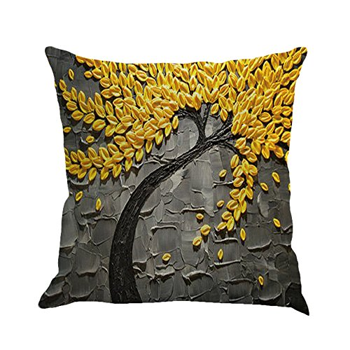 MHB Oil Painting Black Large Tree and Yellow Flower Cotton Linen Throw Pillow Covers 15% Cotton and 85% Polyester Pillowcase 18 x18 Inch (Grey) (Yellow And Black Pillows)