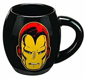 Vandor 26363 Marvel Iron Man 18 oz Oval Ceramic Mug, Black, Yellow, and Red