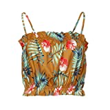 Goodtrade8 Plus Size Women Strappy Tops Ruffle Floral Print Short Vest Blouse Sleeveless Summer Tee T-Shirt (M, Yellow)
