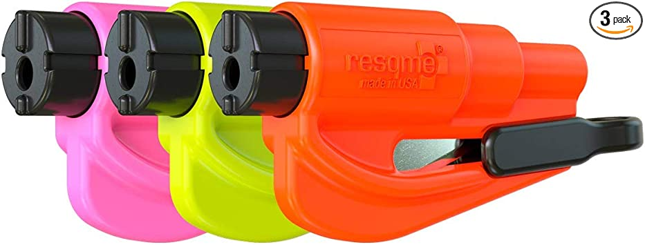 Yellow//Green//Orange Made in USA - Pack of 3 resqme The Original Keychain Car Escape tool