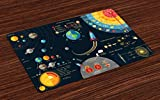 Lunarable Galaxy Place Mats Set of 4, Composition of Universe Infographics as Solar System Planets Sun and Moon Big Bang, Washable Fabric Placemats for Dining Room Kitchen Table Decor, Multicolor