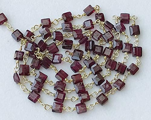 KALISA GEMS Beads Gemstone 5 Feet Garnet Faceted Flat Box Beads Connector Chains in 925 Silver Gold Plate Wire Wrapped Rosary Style Chain