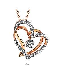 Telesthesia Lover Brilliant Genuine Diamond 14K White Rose Solid Gold Dating Promise Women Gift Pendant Set
