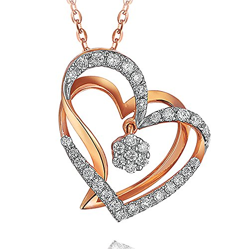 Telesthesia Lover Brilliant Genuine Diamond 14K White Rose Solid Gold Dating Promise Women Gift Pendant Set by Kardy